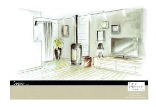 Perspective mur salon